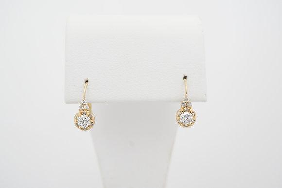 14k 1/2ctw Diamond Buttercup Halo Leverback Earrings