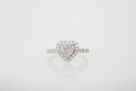 14k 1/2ctw Diamond Heart Ring