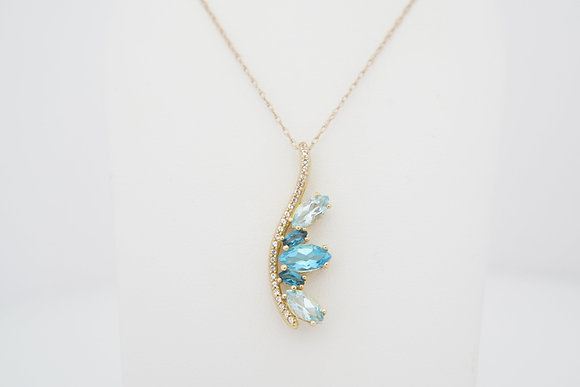 10k Marquise Multi-Topaz Necklace