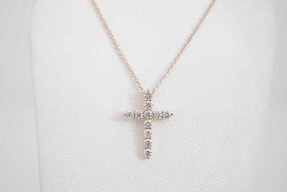 14k 3/8ctw Diamond Cross Necklace
