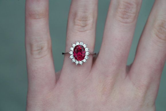 10k Created Oval Created Ruby Halo Ring