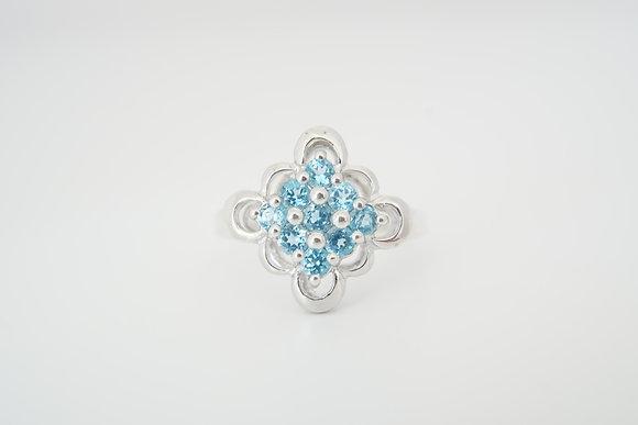 Sterling Silver Blue Topaz Floral Cluster Ring