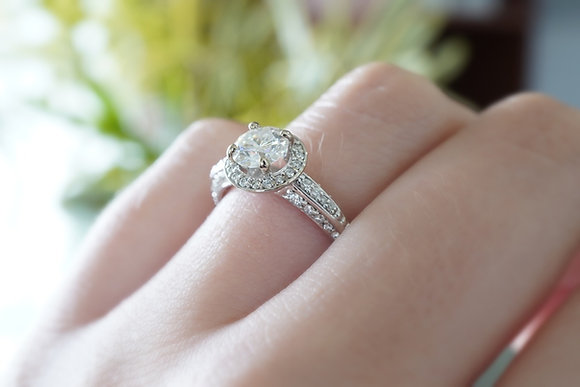 14k Moissanite & Diamond Halo Ring