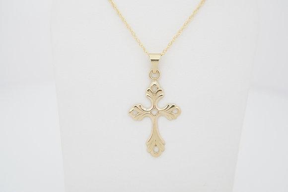 14k Scroll Design Cross Necklace