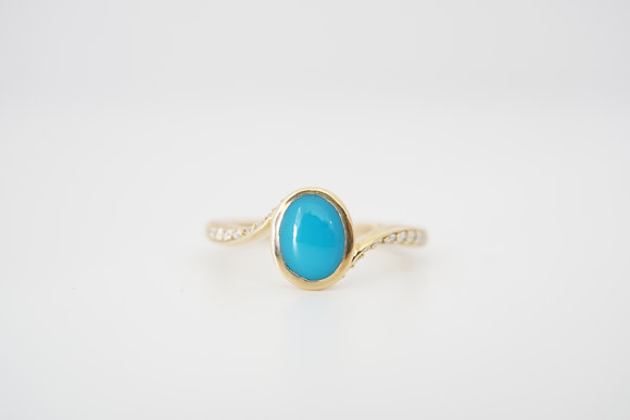 14k Turquoise & Diamond Bypass Ring