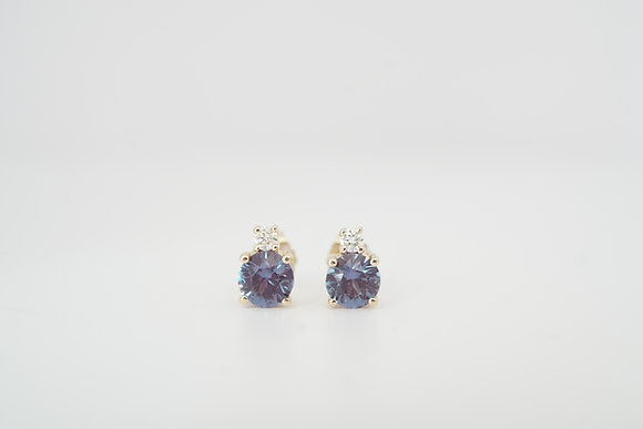 14k 5mm Created Alexandrite & Diamond Earrings