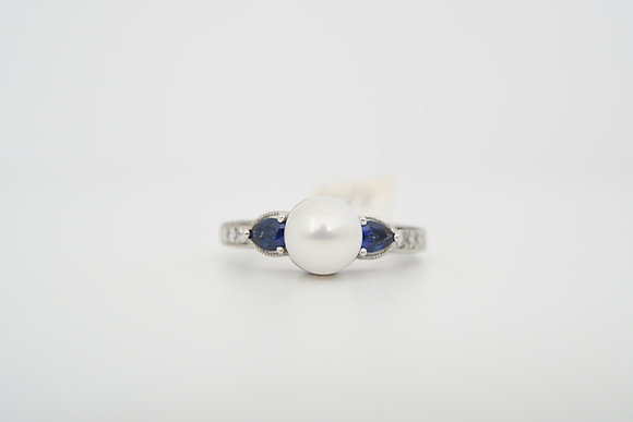 18k Vanna K Pearl, Sapphire, and Diamond Ring