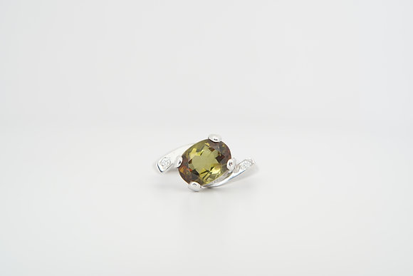 10k 2.21ct Andalusite & Diamond Bypass Ring