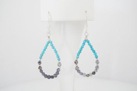 Sterling Silver Turquoise & Iolite Beaded Earrings