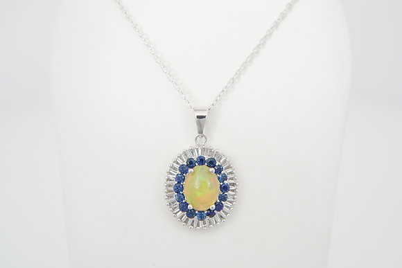 Sterling Silver Opal & Sapphire Necklace