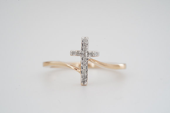 10k .07ctw Bypass Cross Ring