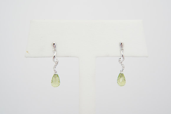 14k Peridot & Diamond Briolette Dangle Earrings