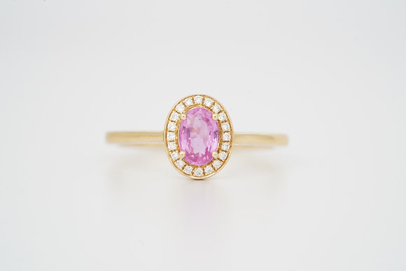 14k Pink Sapphire & Diamond Oval Halo Ring