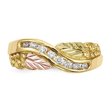 10k Black Hills Gold Diamond Channel Ring