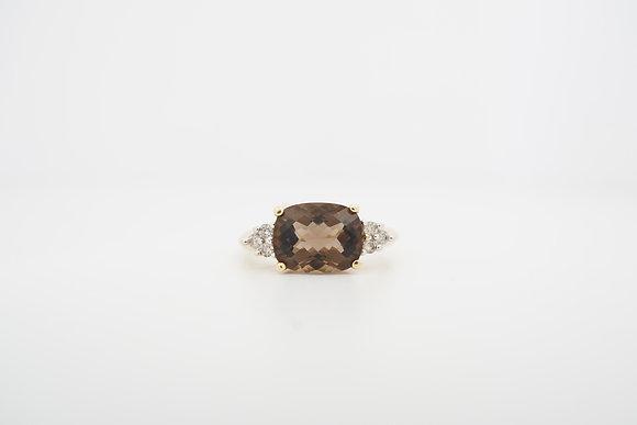 14k Smokey Quartz & Diamond