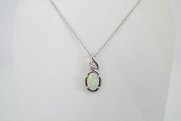 10k Figure-Eight Created Opal Necklace