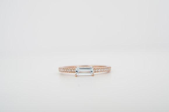 14k Baguette Aquamarine & Diamond Accented Ring