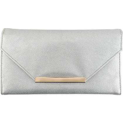 Silver Leatherette Travel Clutch