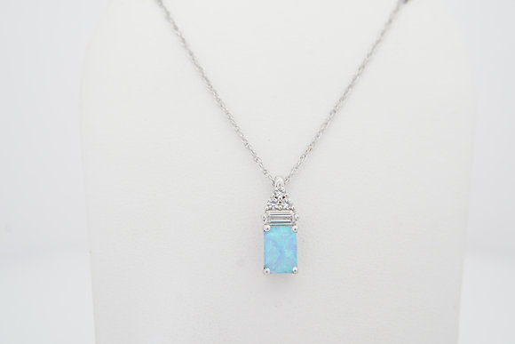 Sterling Silver Blue Created Opal Necklace