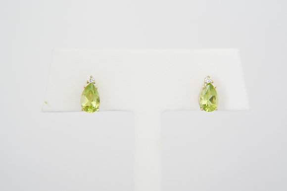 14k Peridot & Diamond Stud Earrings