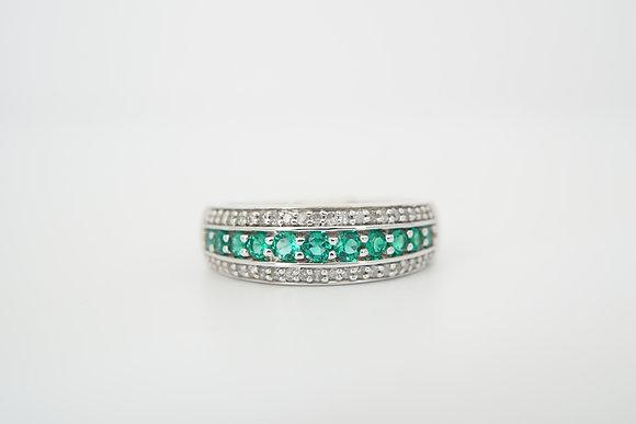 10k Created Emerald & Created White Sapphire Band