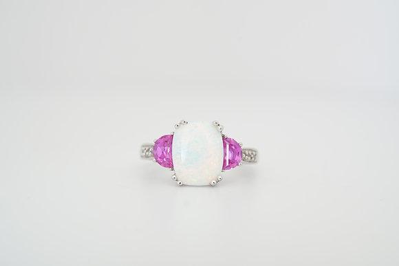 10k Created Opal, Pink Topaz, & Diamond Ring