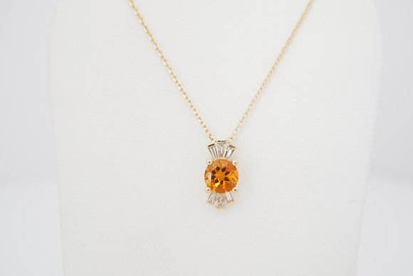 14k Diamond & Citrine Necklace