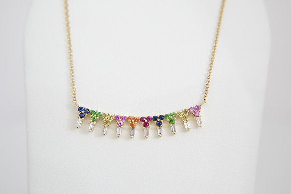 14k Rainbow Sapphire & Diamond Bar Necklace