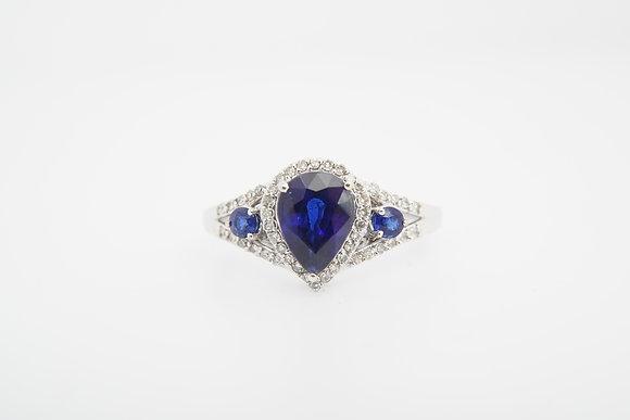 14k Kyanite & Diamond Halo Ring