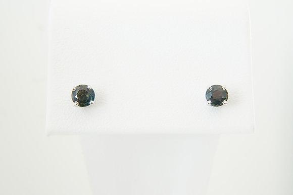 14k Green Sapphire Stud Earrings