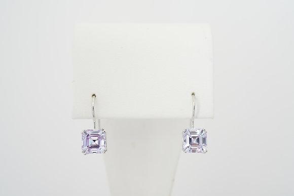 Silver Lavender French-Hook Earrings