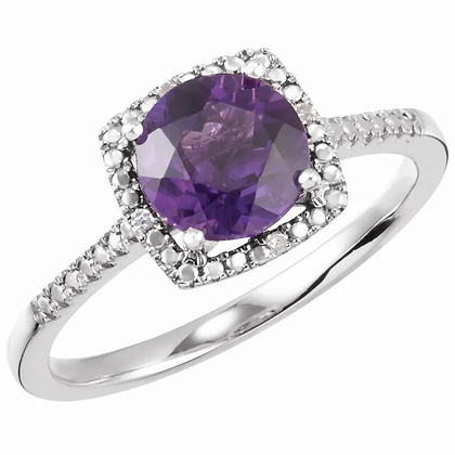 Sterling Silver Amethyst Halo-Style Ring