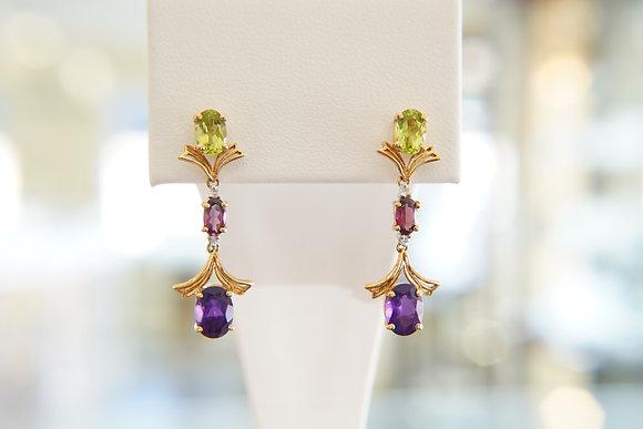 18k Multi Gemstone Earrings