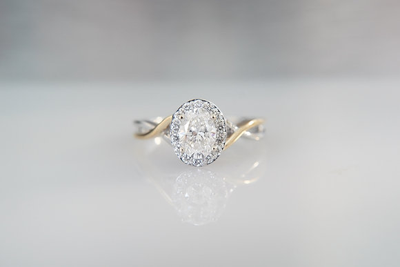 14K Two-Tone Oval Halo ring
