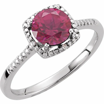 Sterling Silver Created Ruby Halo-Style Ring
