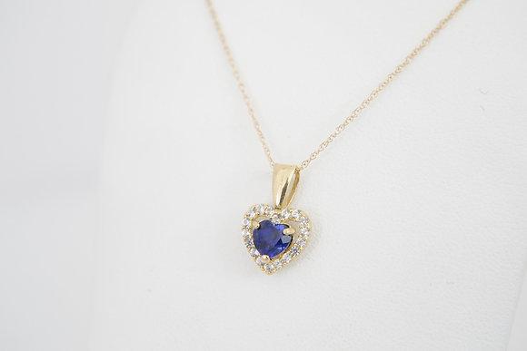 10k Petite Created Blue Sapphire Necklace