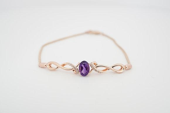 10k Amethyst & Diamond Infinity Bar Bracelet