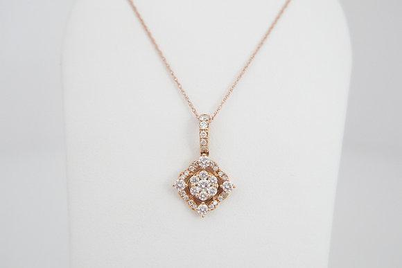 14k 3/4ctw Diamond Cluster Necklace