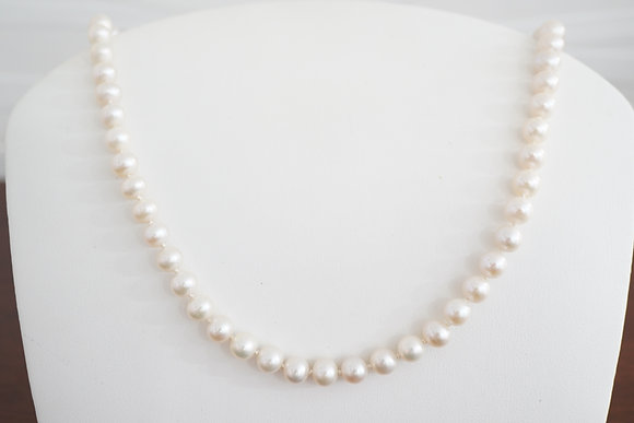 Silver or 14K, 7-7.5mm Freshwater Pearl Strand