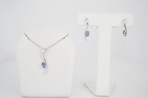 14k Amethyst & Diamond Necklace/Earring Set