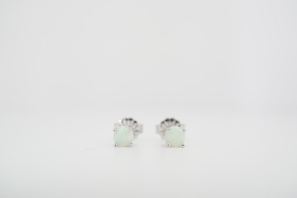 14k 4mm Opal Stud Earrings