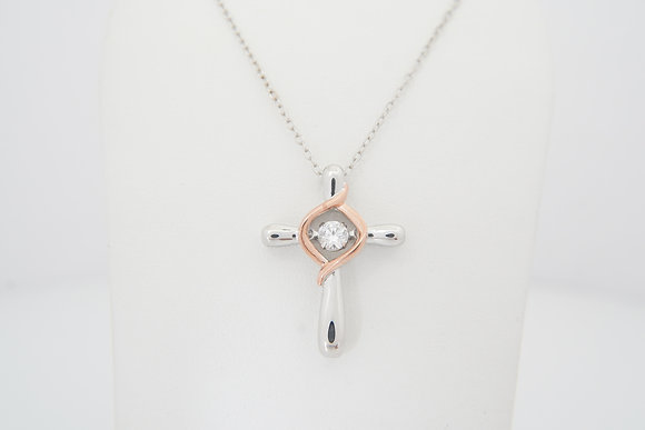Sterling Silver Dancing CZ Cross Necklace