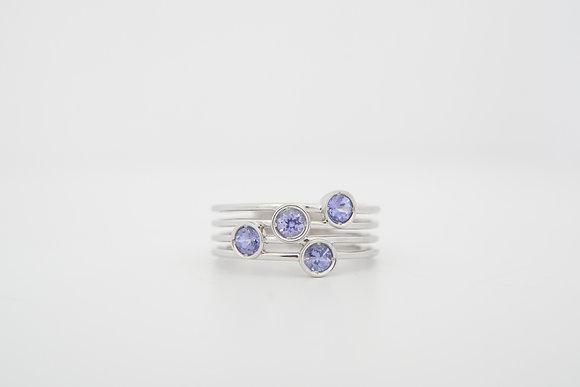 14k Multi-Row Tanzanite Ring