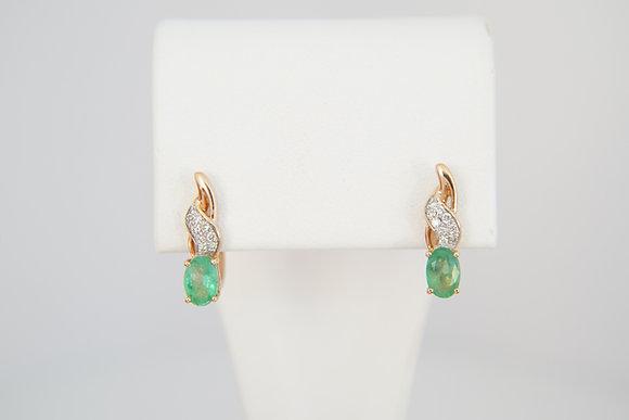 14k Emerald & Diamond Hinged Earrings