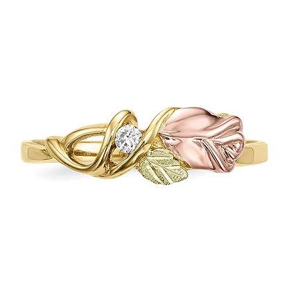 10k Black Hills Gold Diamond Rose Ring