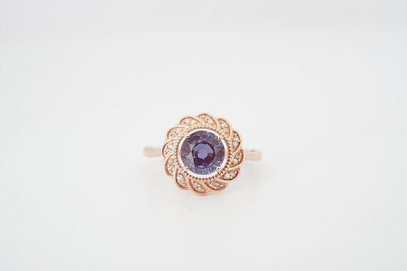10k Created Alexandrite & Diamond Scalloped Halo Ring