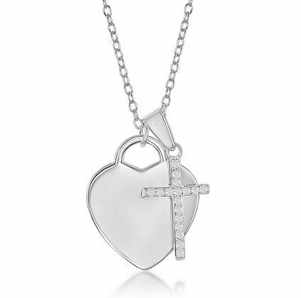 Sterling Silver Heart & Cross Necklace