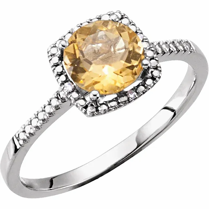 Sterling Silver Citrine Halo-Style Ring