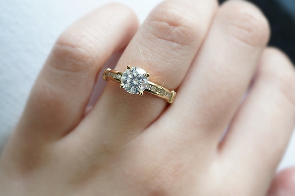 14k Moissanite & Diamond Ring