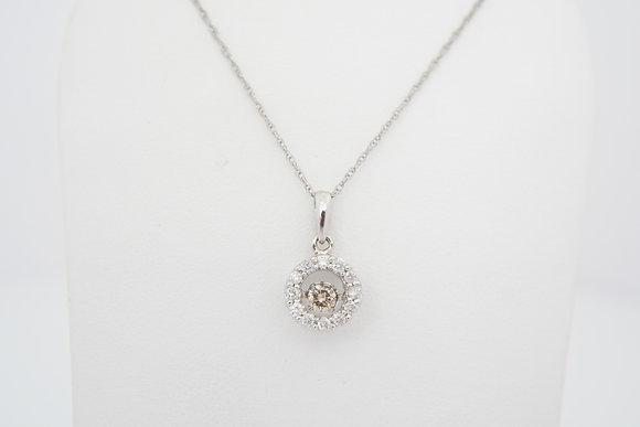 10k 1/3ctw Brown & White Dancing Diamond Necklace